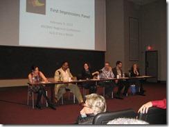 First Pages Panel (Tamra Tuller, E. B. Lewis, Erzsi Deak, Rubin Pfeffer, John Cusick, Kathy Landwher)