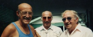 Dad (Melvin Crum), James L. and Ben Crum Jr. at Setser reunion. 2000?